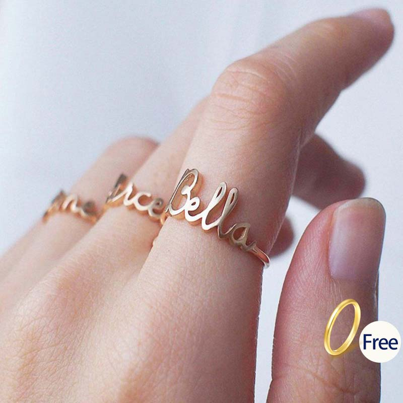 Name-Ring Wedding-Band Custom Letters Stainless-Steel Gold Personalized Women Bijoux title=