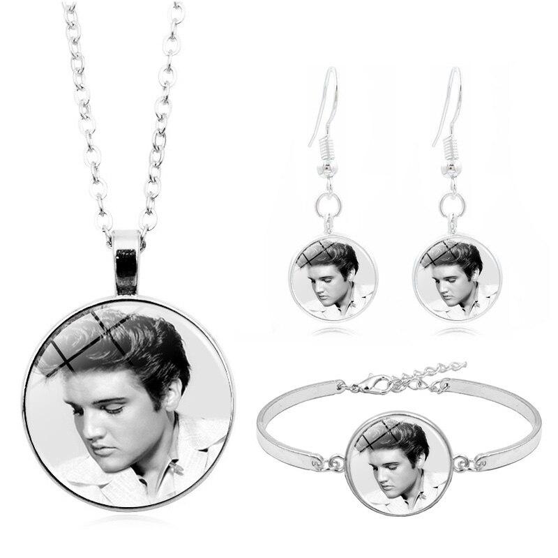 Elvis Presley Photo Cabochon Glass Tibet Silver Chain Pendant  Necklace