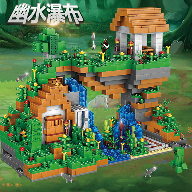 Legoing My World Village Water Falls Compatible Legoings City My World Figures Building Blocks Toys For Children Christmas Gifts