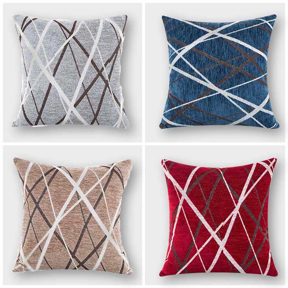 45x45cm Chenille Ray Stripes Pillow Case Sofa Waist Throw Cushion Cover Decor