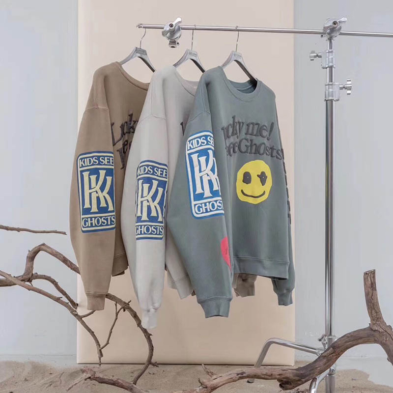 Hoodies Men Sweatshirts Ghost-Patch Streetwear Hip-Hop Kanye-West KIDS High-Quality Casual title=