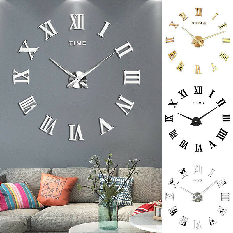 Mirror-Stickers Wall-Clock Living-Room Digital Roman Home Oversize Classic DIY 3D  title=