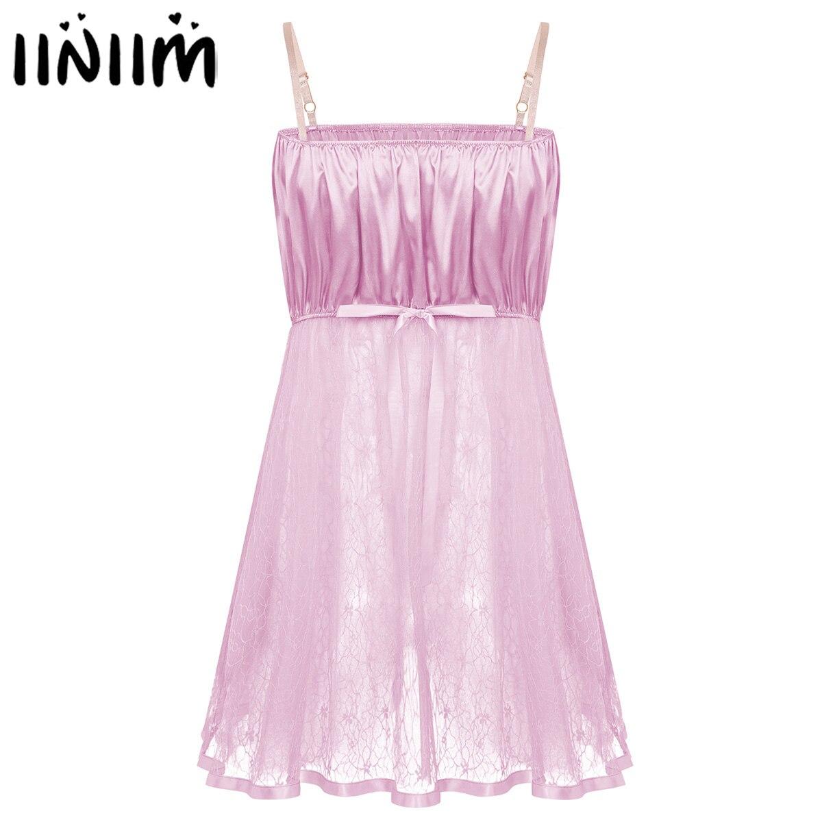 Men Lace Sissy Crossdress Baby Doll Pajamas Dress Ruffled Tulle Robe Nightwear