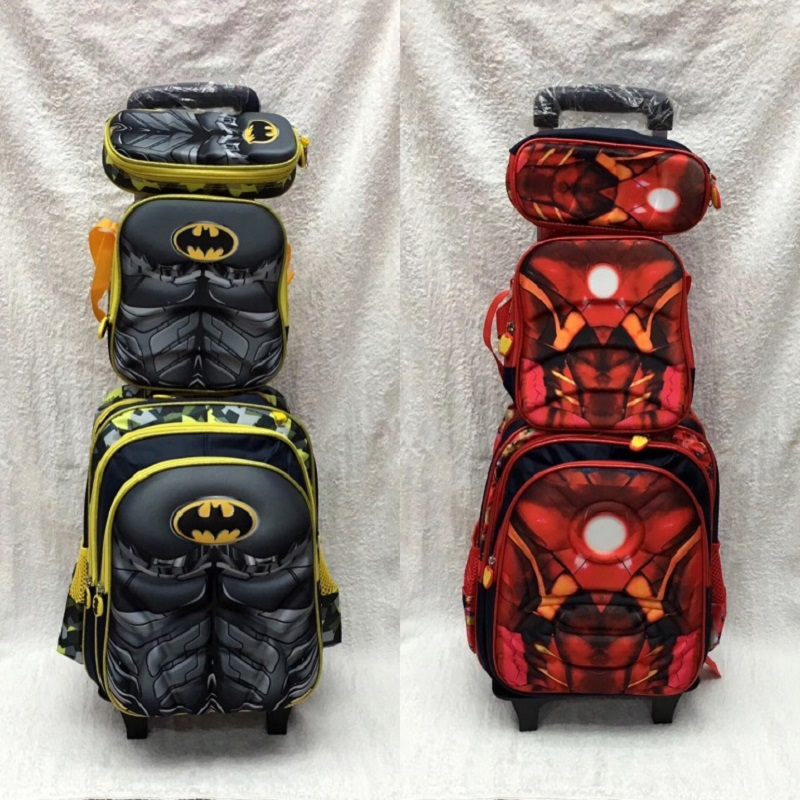 Children Backpack Trolley Bag Wheels Kids Boy School 3D with  title=