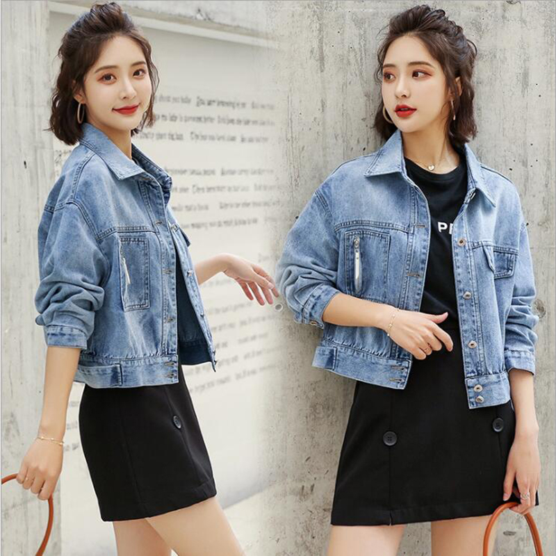 Spring And Autumn denim jacket women Short-height Short Jeans Coat Girl'S Korean-style Loose-Fit Cool College Style Tops T122554