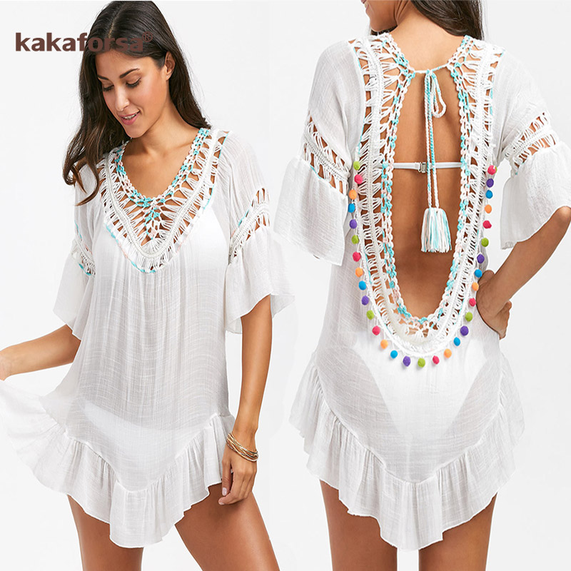 Kakaforsa Sexy Crochet Beach Cover Up Halter Summer Beach Dress Cotton Swimwear Cover Up Solid Robe De Plage Tunic Bikini Covers title=