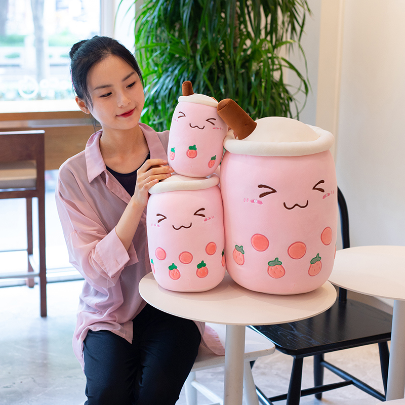 real-life bubble tea plush toy stuffed food milk tea soft doll boba fruit tea cup pillow cushion kids toys birthday gift