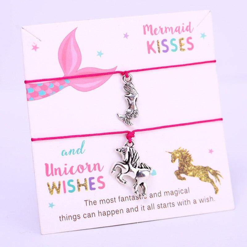 gift Girls multi-coloured unicorn charm bracelet personalised with any name