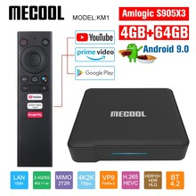 Mecool Google Certified KM1 Andriod 9,0 4G 64G Amlogic S905X3 ТВ-приставка TV Dual Wifi 4K Voice Andriod ТВ-приставка Youtube smart box(Китай)