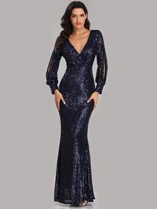 Formal-Dress Evening-Dresses V-Neck Robe-De-Soiree Sequined Elegant Sexy Long Full-Sleeve