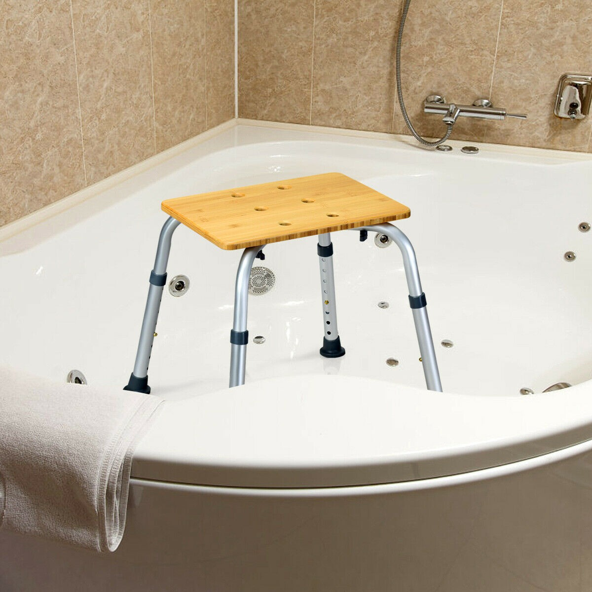 Bathtub - Square Shaped Multifunctional Bamboo Bath Seat Shower Chair Adjustable Non Slip Rubber Feet Rust-proof Aluminum Frame Chair