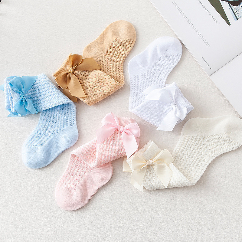 lawadka Baby Girl Socks Toddler Baby Bow Cotton Summer Mesh Baby Knee Socks Newborn Infant Non-slip Long Baby Boys Socks 0-2T