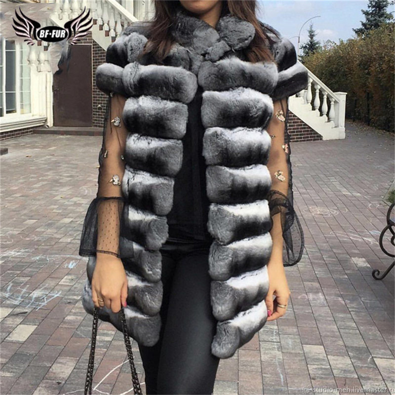 Winter Fashion Real Chinchilla Rex Rabbit Fur Vest For Women High Quality Rex Rabbit Fur Coats Full Pelt Natural Gilets Luxury