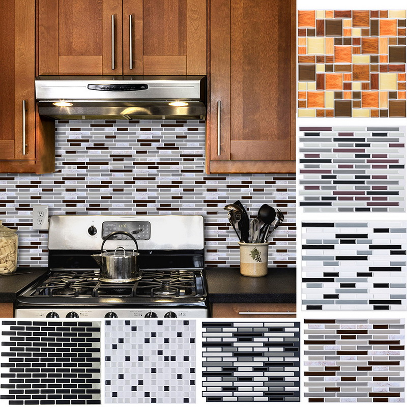 Kitchen Bathroom 3D Simple Tile Stickers Waterproof Dormitory Home Decoration Decal Self-Adhesive Tile Sticker Wall Paper Brick