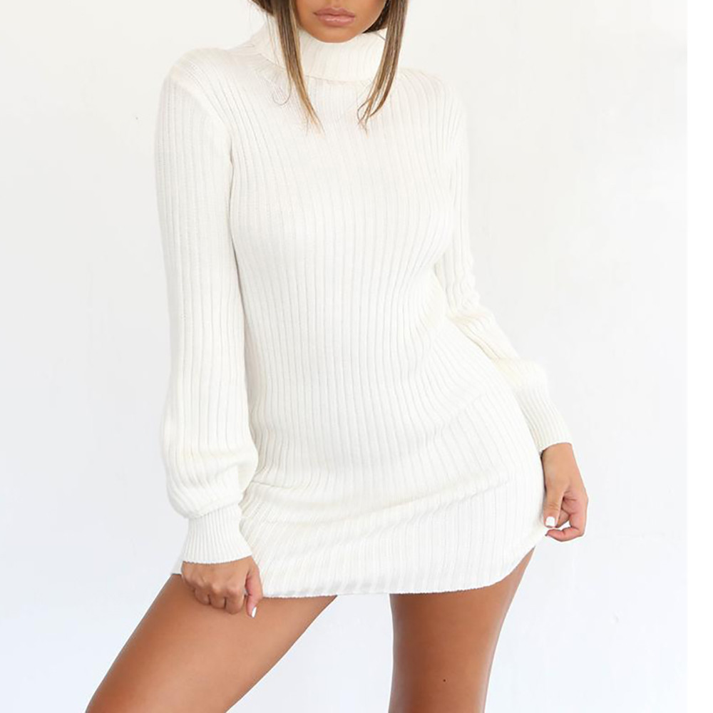 Jaycosin Fashion Casual Lady Long Sleeve Loose Turtleneck Knitted Sweater Dress Stylish Comfortable Elegant Fit Top