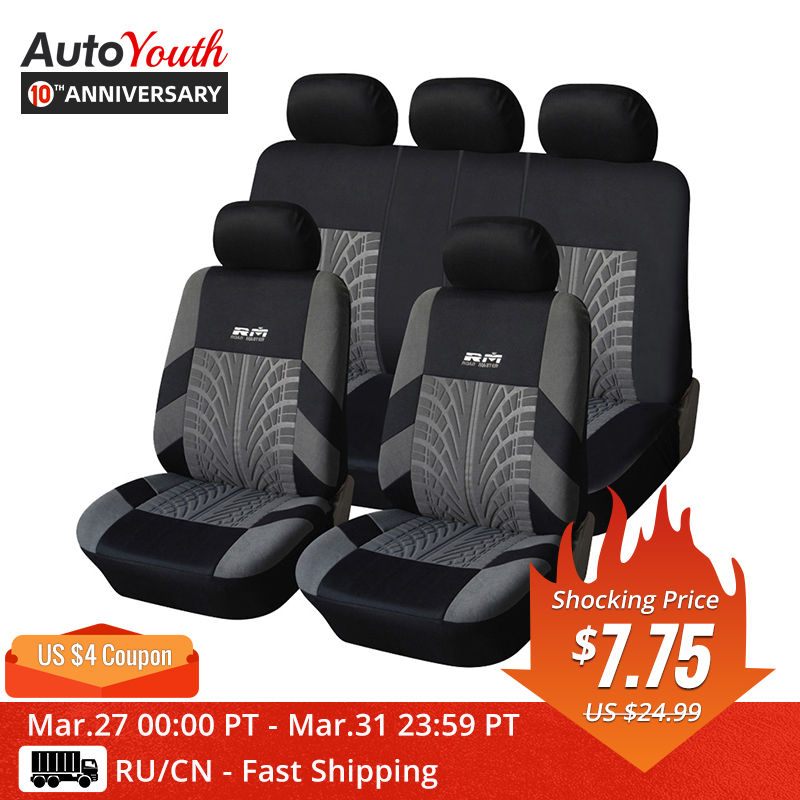 AUTOYOUTH Car-Seat-Cover Fit Car-Styling Universal Hot-Sale 9PCS And 4PCS with Tire-Track-Detail title=