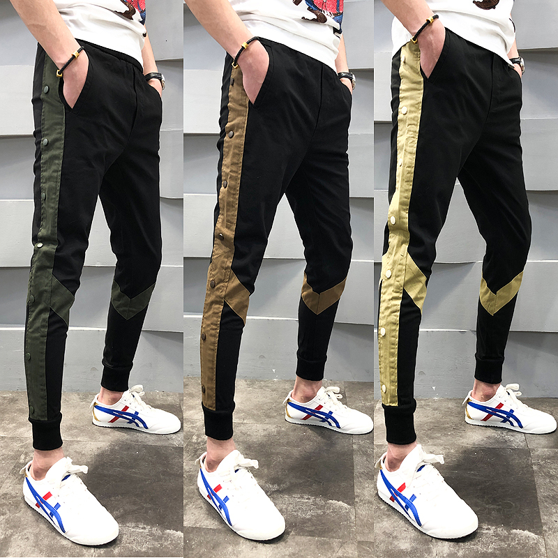 Side Tape Pant Casual Office Trousers Ment Ankle Length Streetwear Pantalon Homme Slim Fit Men Social Trouser Track Pants Men