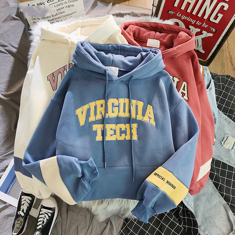 Hoodies Women Thicker Letter Velvet Warm Pullover Winter Coat Drawstring Harajuku Sweatshirt Pink Womens Korean New High Quality