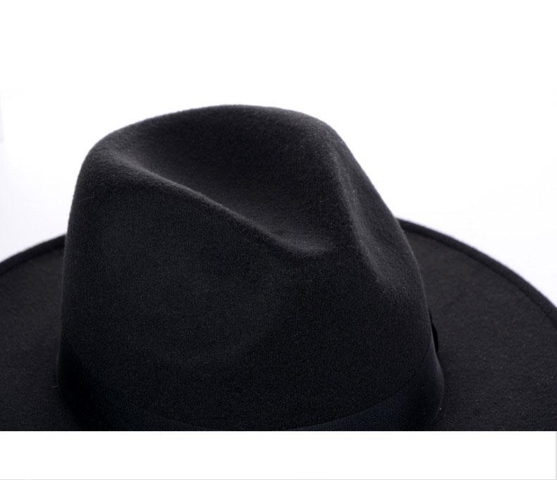 DDTT Sombrero Fedora de ala Blanca//Negra de 56-60Cm Sombreros de Fieltro de Lana de imitaci/ón para Hombres y Mujeres Sombrero Panam/á Jazz Chapeau con decoraci/ón de Cadena de Metal