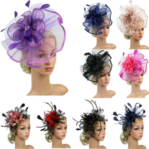 Womens Sinamay Fascinator Cocktail Party Hat Wedding Church Kentucky Derby Dress title=