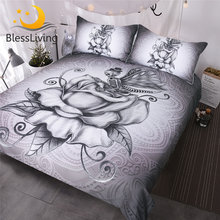 BlessLiving Pale Grey Butterfly Skull Bedding Set 3pcs Retro Roses Duvet Cover Queen Super Soft Bedclothes Romantic Dark Bed Set(China)