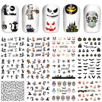 ZKO 12 / Skull / Cat / Maple / Bat Multi-Pattern Art Nail Sticker Transfer Sticker A1117-1128