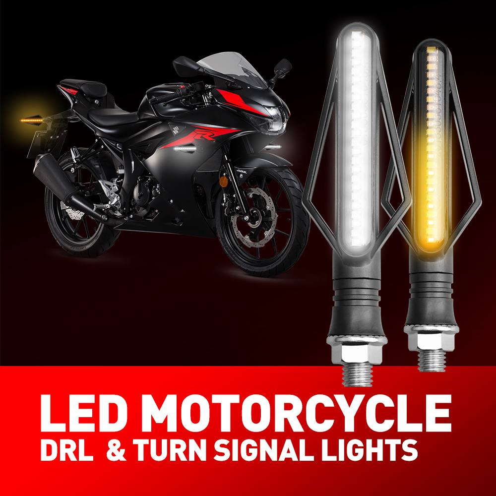 LED Turn Signal Indicator Sequential Day Running Light DRL For Yamaha Motorcycle