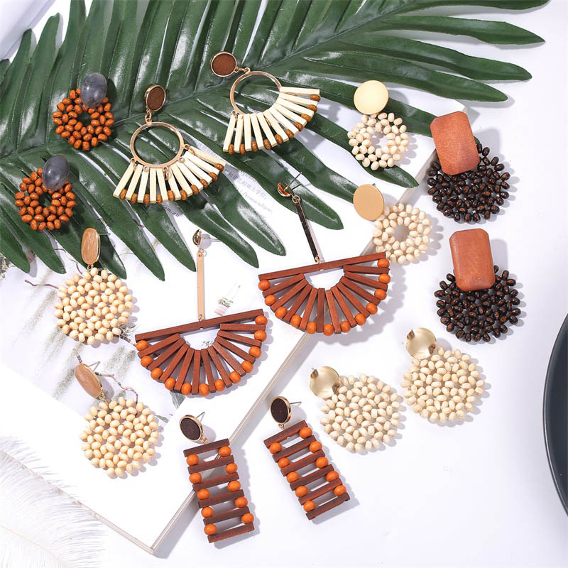 19 Fashion Boho Round Square Geometric Wooden Drop Earrings For Women Bohemian Vintage Wood Beaded Dangle Earring Jewelry Gift 2