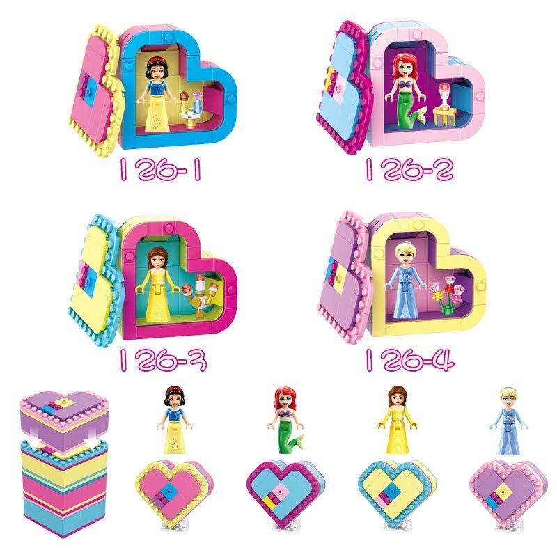 Legoing Princess Toy Hobbies Building & Construction Toys Children Friend Scenes Girls Heart shape Blocks Princess Legoings Gift