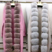 Fur-Fur-Coat Knitted-Sweater Placket Natural Ladies Warm Needleworkfur Autumn Striped