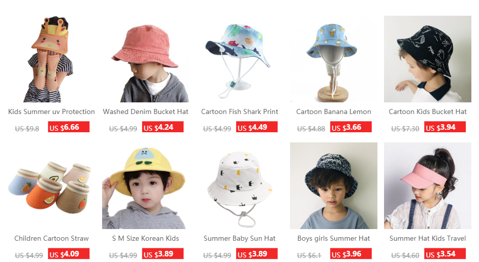 Cute Rabbit Ear Kids Bucket Hat Outdoor Casual Cap Kid Sun Cap Sunscreen SM