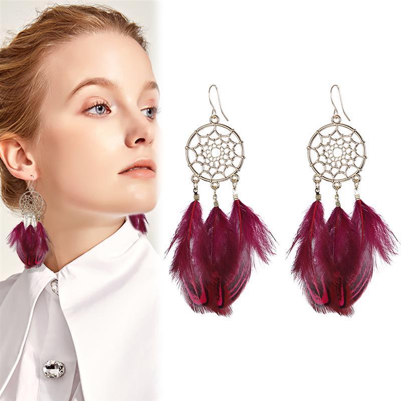 Boucles d'Oreilles Attrapes Rêve à Plumes Rouge chic bohème style femme mode bijoux femme