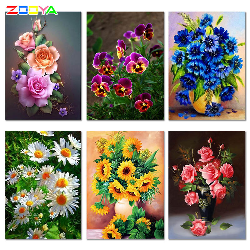 ZOOYA Diamond Painting Mosaic-Drill-Picture Flower Embroidery-Sale Full-Square Decor title=