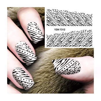 ZKO Nail Sticker Water Adhesive Foil Nail Art Decorations Tool Water Decals  Black Ladies Section Design Nail Sticker Makeup 7312