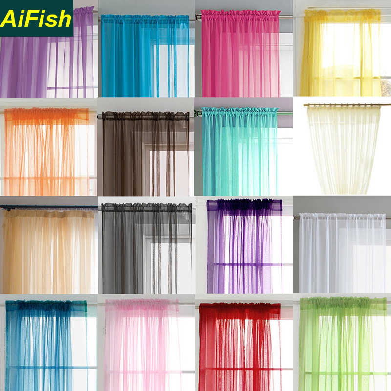 Outdoor Solid Color Sheer Voile Curtains for French Door Multi-Color Window Curtain Tulle Drapery for Living Room Balcony WP1843