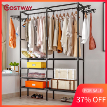 COSTWAY Hanger Coat-Rack Clothing Wardrobe Porte Drying-Racks Storage Manteau Perchero-De-Pie