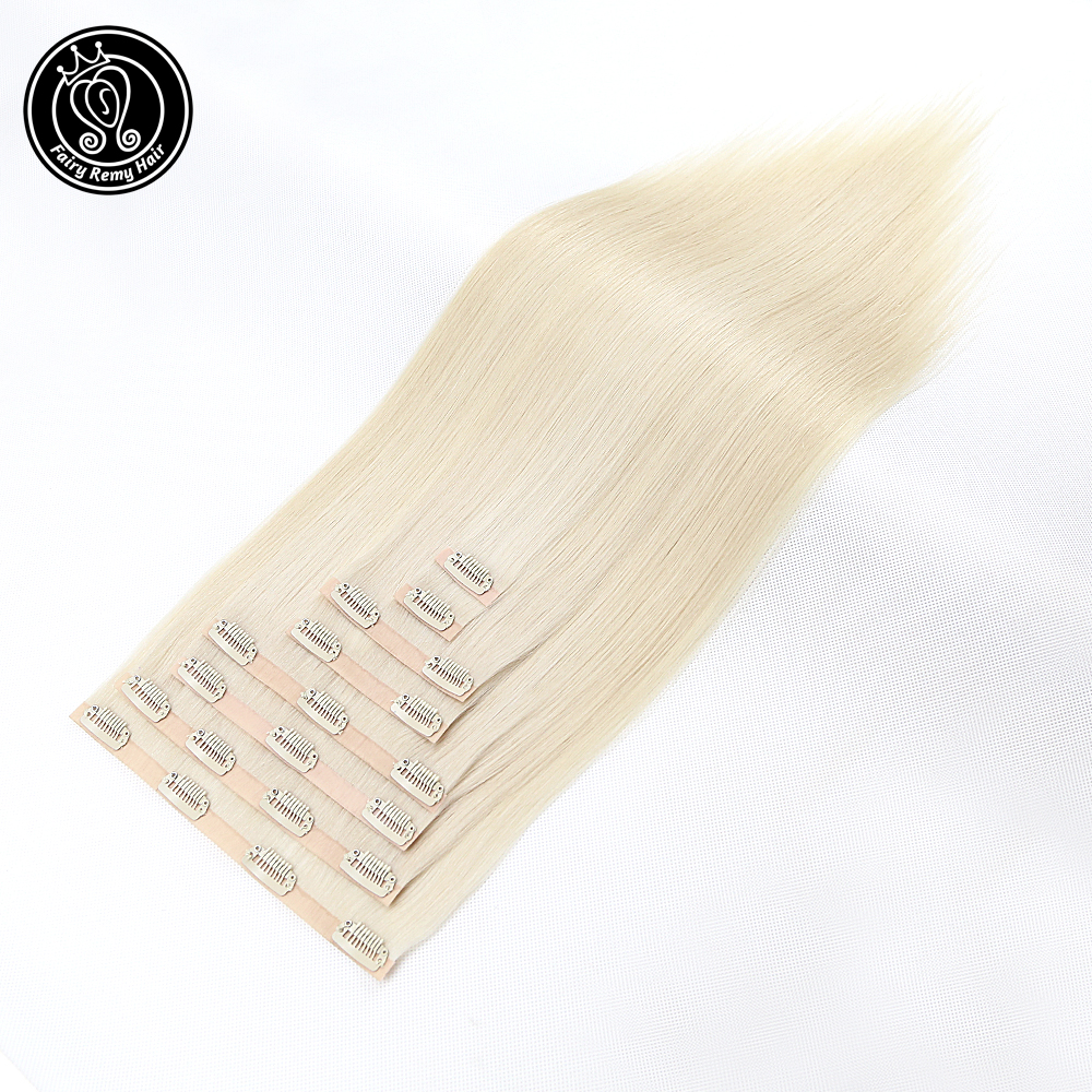 Hair-Extensions Human-Hair Clip-In Straight Remy 18inch 8pcs Fairy PU 170g/Set 100%Real title=