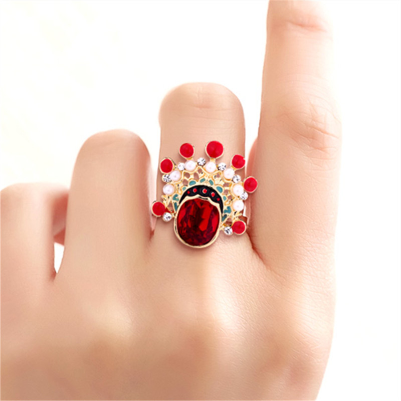 China national Peking Opera vintage rings 2019 hanfu Ethnic Figure crystal rings for women jewelry Trendy Wedding bands rings