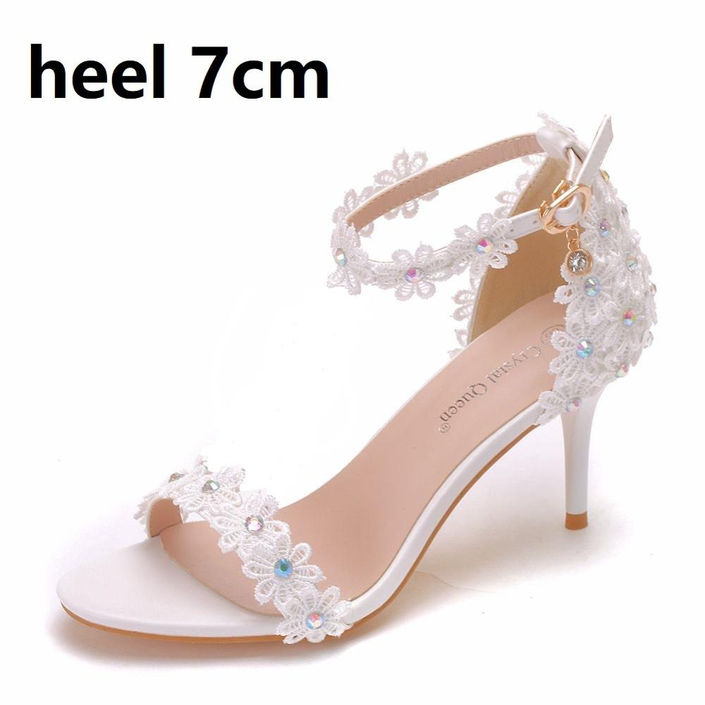 Crystal Queen Women Sandals Summer Shoes 5cm 7cm 9cm High Heels Lace Peep Toes Buckle Strap Woman Party Shoes White Pumps