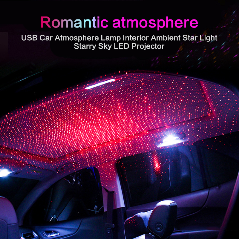 Car USB LED Atmosphere Ceiling Star Light Sky Red Galaxy Lamp Music Sound Remote