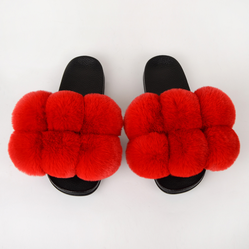 Summer Women Slippers Faux Fur Slides For Women Fluffy Slippers House Female Shoes Woman Slippers With Fur Pom Pon Furry Slides