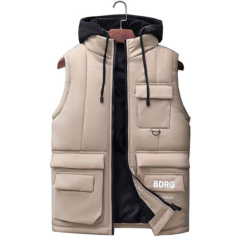 Жилет Мужская Новая мода осень зима теплая куртка без рукавов мужской жилет