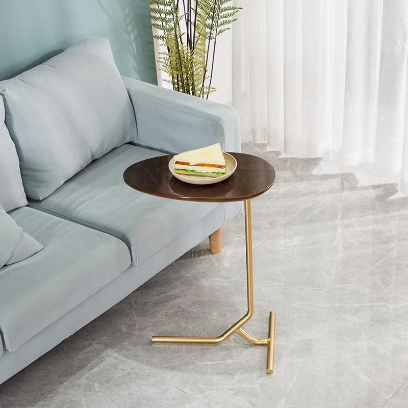 Creative Simple Oval Small Side Table Mobile Iron Solid Wood Sofa Corner Side Table Lazy Bedside Reading Table