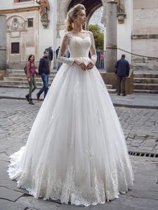 Bridal-Dresses Wedding-Gowns Appliques Long-Sleeve Elegant Sexy Vintage Princess Lace