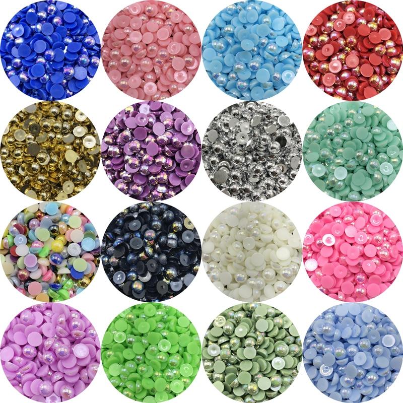 3-12mm Assorted Colors Size Half Round Flatback ABS Pearls Garment Scrapbook Bea