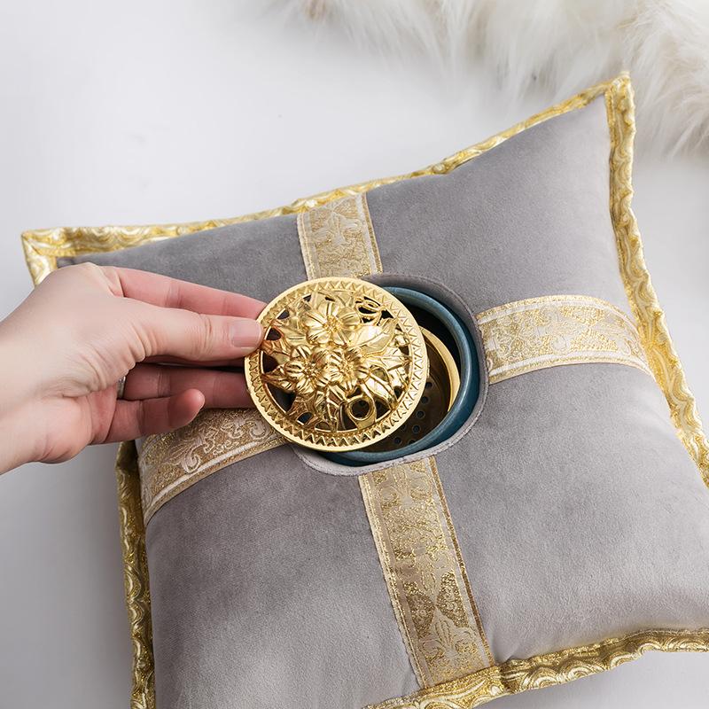 Small Luxury Incense Burner Pillow Aromatherapy Holder Cushion Gold Rhinestones