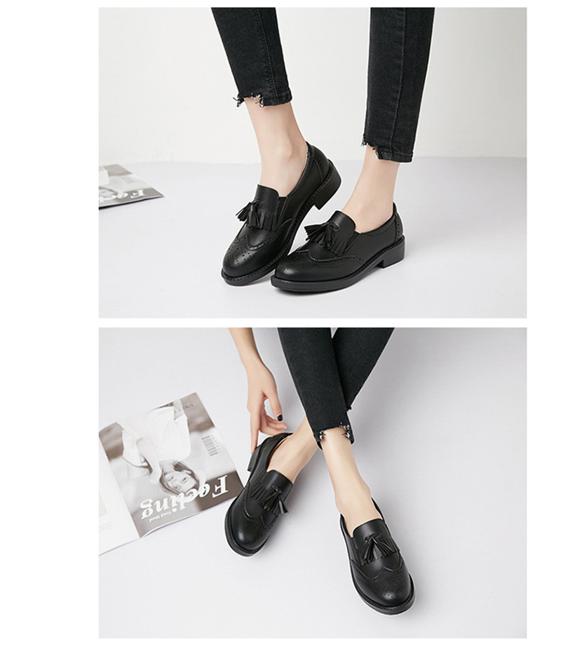 New British Carved Oxford Shoes For Woman Korean College Slip On Student Flats Brogues Shoes Retro Tassel Casual Women's Loafers (8)