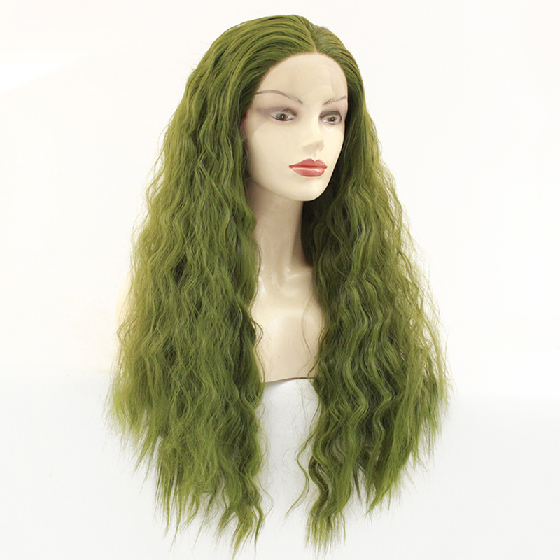 Fashion Glueless Long Grass Green Curly Wavy Lace Front Wig Heat Resistant Synthetic Wigs for Women Middle Parting 26inch