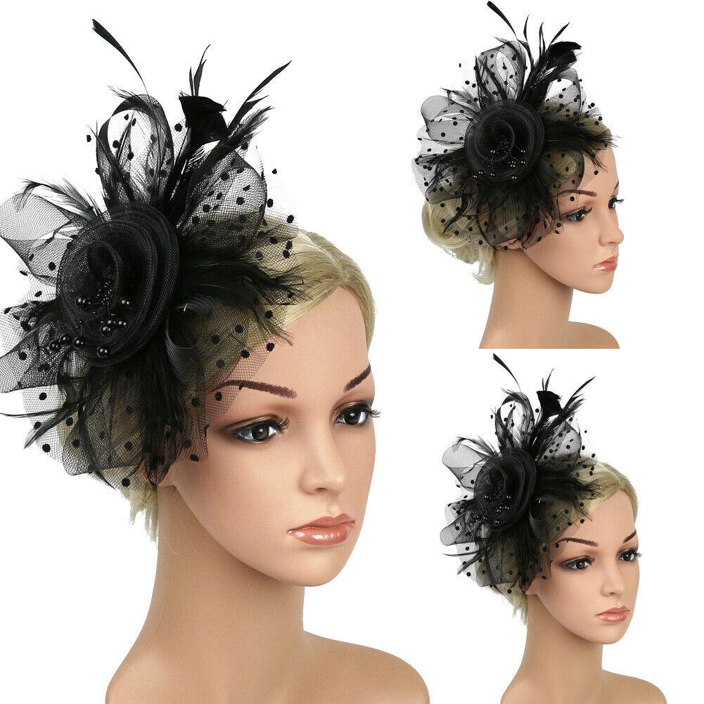 Fascia di grandi dimensioni e clip Cappello Nero /& Rosso Fascinator con matrimoni razza Royal Ascot