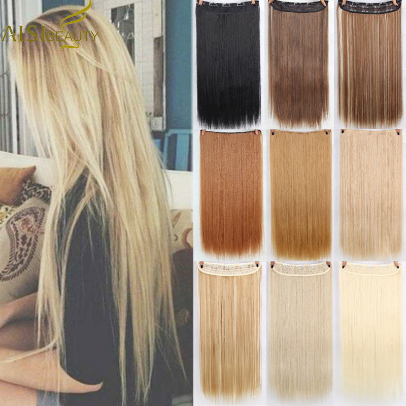 AISI BEAUTY Long Straight Clip in one Piece Synthetic Hair Extension 5 Clips False Blonde title=